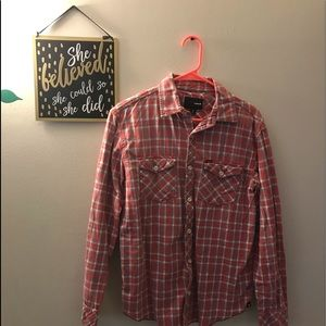 Hurley Red Plaid Long Sleeve Button Down